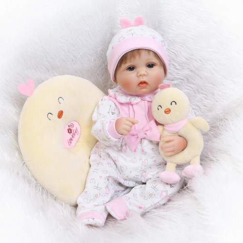 "22"" Preemie reborn baby Doll Lucy with Chick clothes and toy"