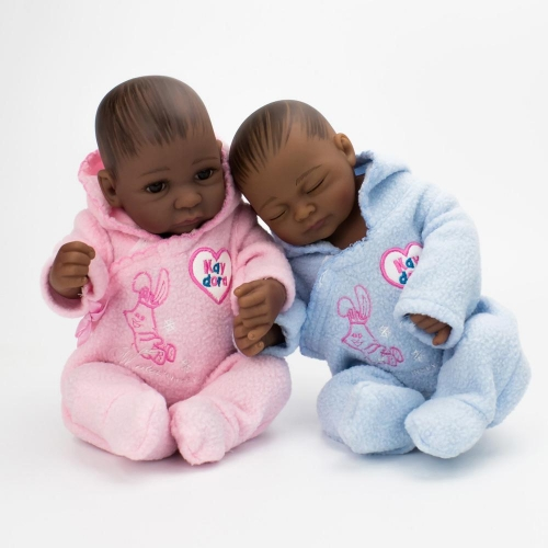 "10"" twins preemie reborn dolls African American Boy and girl Kaydora"