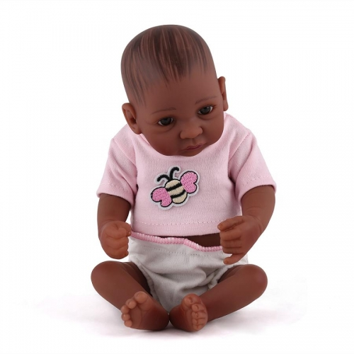 "Full silicone 10"" Cute African American Girl Baby Zoey toys"