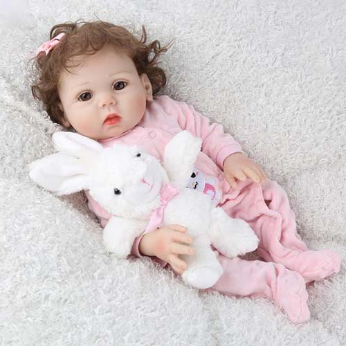 "reborn silicone baby 18"" girl dolls and rabbit clothes Kaydora"