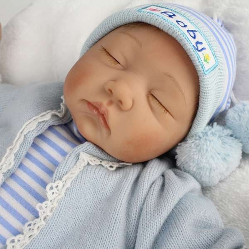 Boy Newborn reborn baby Silicone and cloth handmade doll 22"