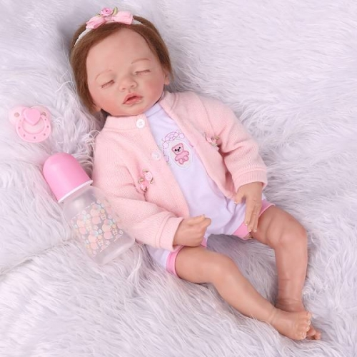 Sleeping reborn baby girl lifelike baby dolls 22"
