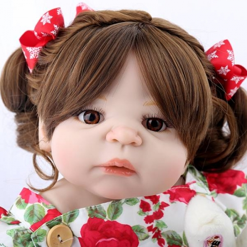 Full silicone baby dolls Toddler Life Like dolls Curly Hair 22"