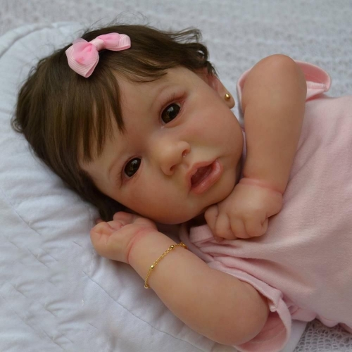 "24"" Full silicone Realistic Baby Reborn Dolls Isabella with her Bear"
