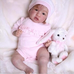 "Realistic 22"" Full silicone Reborn Baby Doll Saskia with her rabbit"