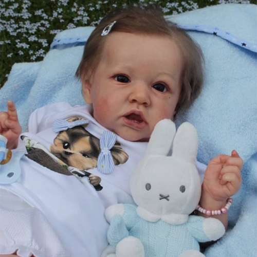 "Realistic 12"" Baby Girl Reborn Dolls Saskia with her Bear"